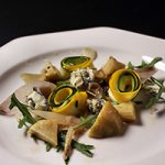Artichok stufado con gorgonzola e vinaigrette di senape