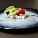 Sushi-rijst met scampi
